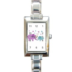 Elephant love Rectangle Italian Charm Watch