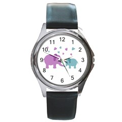 Elephant love Round Metal Watch
