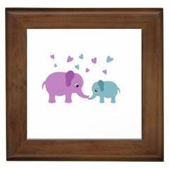 Elephant love Framed Tiles