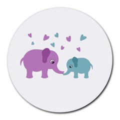 Elephant love Round Mousepads