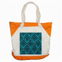 Damask1 Black Marble & Turquoise Marble (r) Accent Tote Bag