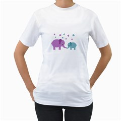 Elephant love Women s T-Shirt (White) (Two Sided)