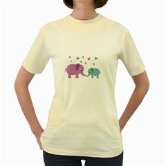 Elephant love Women s Yellow T-Shirt