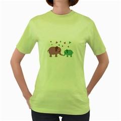 Elephant love Women s Green T-Shirt