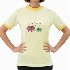 Elephant love Women s Fitted Ringer T-Shirts