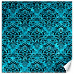 Damask1 Black Marble & Turquoise Marble (r) Canvas 20  X 20