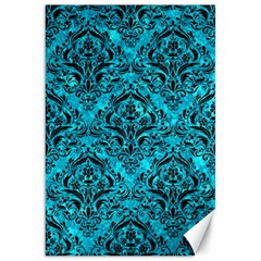 Damask1 Black Marble & Turquoise Marble (r) Canvas 20  X 30