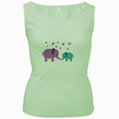 Elephant love Women s Green Tank Top