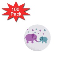 Elephant love 1  Mini Buttons (100 pack)
