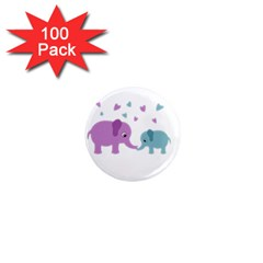 Elephant love 1  Mini Magnets (100 pack)