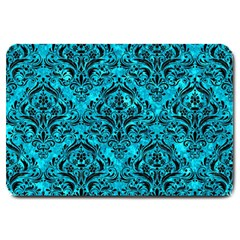 Damask1 Black Marble & Turquoise Marble (r) Large Doormat