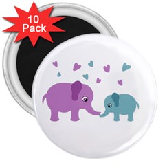 Elephant love 3  Magnets (10 pack)