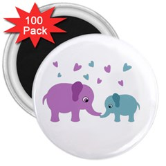 Elephant love 3  Magnets (100 pack)