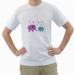 Elephant love Men s T-Shirt (White) (Two Sided)