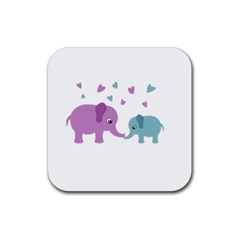 Elephant love Rubber Square Coaster (4 pack)
