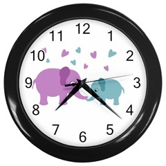 Elephant love Wall Clocks (Black)