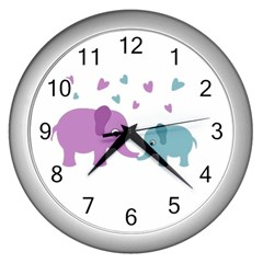 Elephant love Wall Clocks (Silver)
