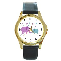 Elephant love Round Gold Metal Watch