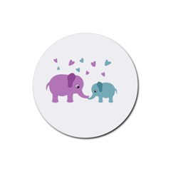 Elephant love Rubber Round Coaster (4 pack)