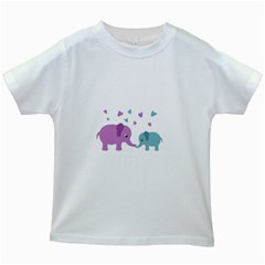 Elephant love Kids White T-Shirts