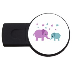 Elephant love USB Flash Drive Round (1 GB)