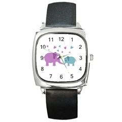 Elephant love Square Metal Watch