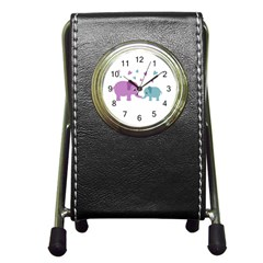 Elephant love Pen Holder Desk Clocks