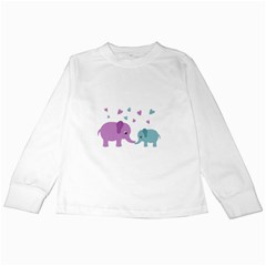 Elephant love Kids Long Sleeve T-Shirts