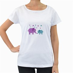 Elephant love Women s Loose-Fit T-Shirt (White)