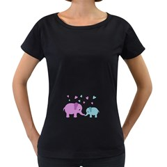 Elephant love Women s Loose-Fit T-Shirt (Black)