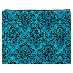 Damask1 Black Marble & Turquoise Marble (r) Cosmetic Bag (xxxl)