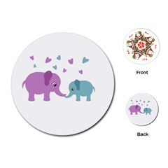 Elephant love Playing Cards (Round)