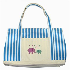 Elephant love Striped Blue Tote Bag