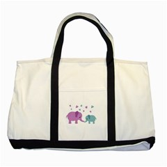 Elephant love Two Tone Tote Bag