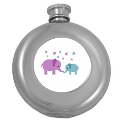 Elephant love Round Hip Flask (5 oz)