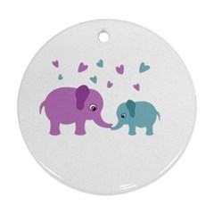 Elephant love Round Ornament (Two Sides)