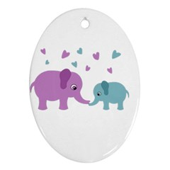 Elephant love Oval Ornament (Two Sides)