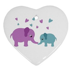 Elephant love Heart Ornament (Two Sides)