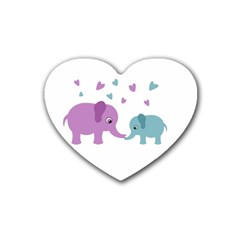 Elephant love Rubber Coaster (Heart)