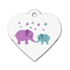 Elephant love Dog Tag Heart (One Side)