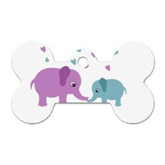 Elephant love Dog Tag Bone (Two Sides)