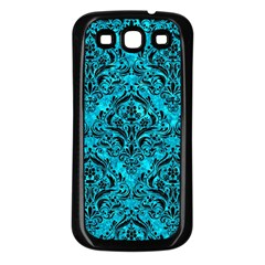 Damask1 Black Marble & Turquoise Marble (r) Samsung Galaxy S3 Back Case (black)