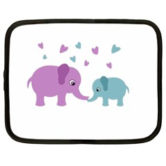 Elephant love Netbook Case (Large)