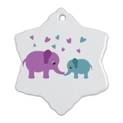 Elephant love Snowflake Ornament (Two Sides)