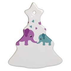 Elephant love Christmas Tree Ornament (Two Sides)