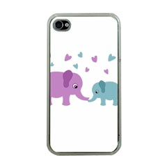 Elephant love Apple iPhone 4 Case (Clear)