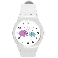 Elephant love Round Plastic Sport Watch (M)