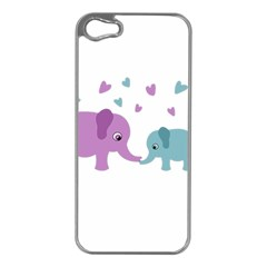 Elephant love Apple iPhone 5 Case (Silver)