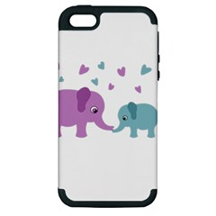 Elephant love Apple iPhone 5 Hardshell Case (PC+Silicone)
