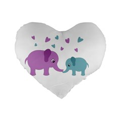 Elephant love Standard 16  Premium Heart Shape Cushions